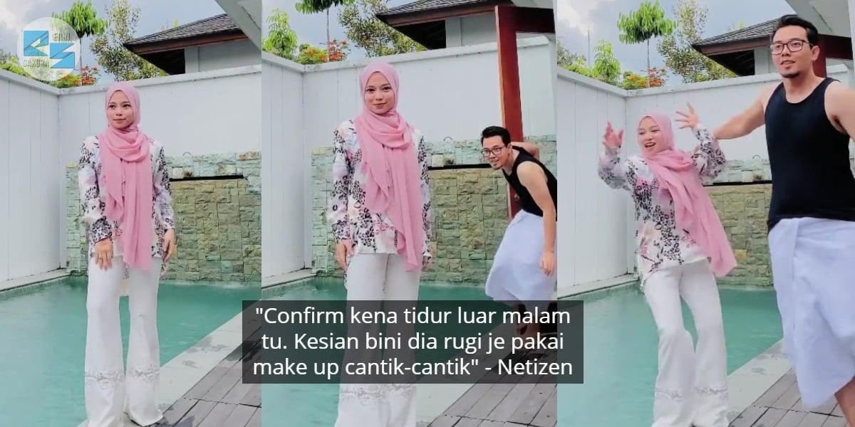 [VIDEO] Leka Posing Untuk TikTok, Sekali Suami Selamba Tolak Bini Masuk Kolam