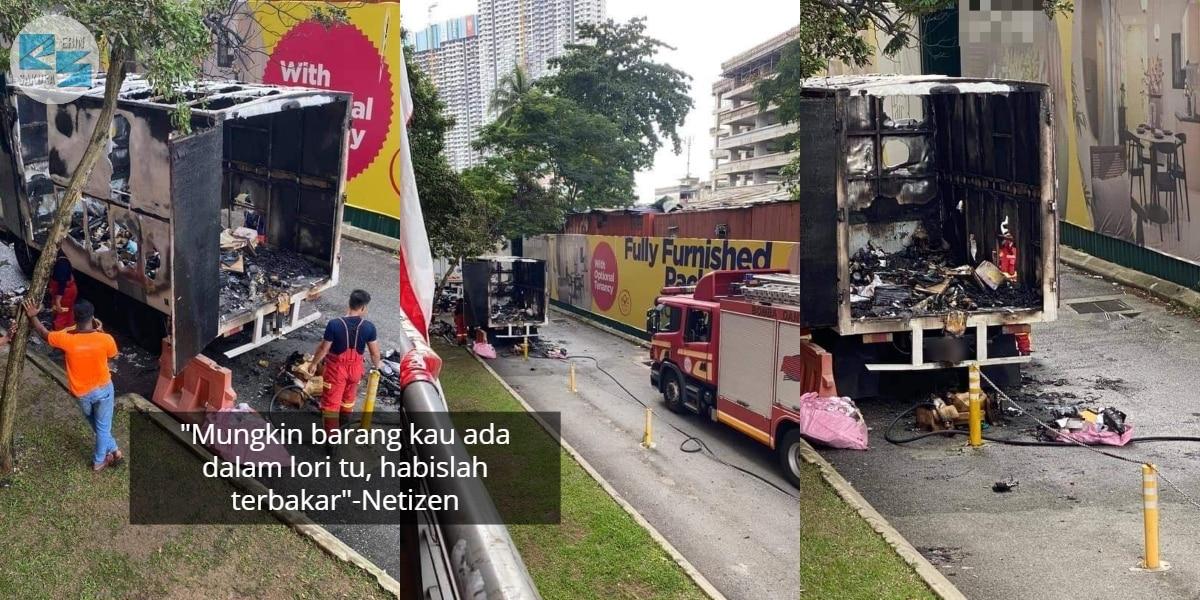 Tak Sempat Sampai Rumah Customer, Lori Bawa Parcel Jualan 11.11 Hangus Terbakar