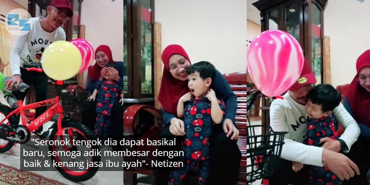 [VIDEO] Ayah Hadiahkan Basikal Baru, Reaksi Anak Buat Ramai Bergenang Air Mata