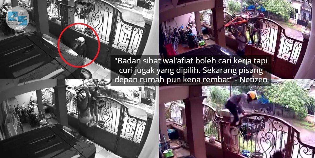 [VIDEO] Siang Pun Berani Buat, Pencuri Selamba Lompat Pagar 'Rembat' 2 Basikal