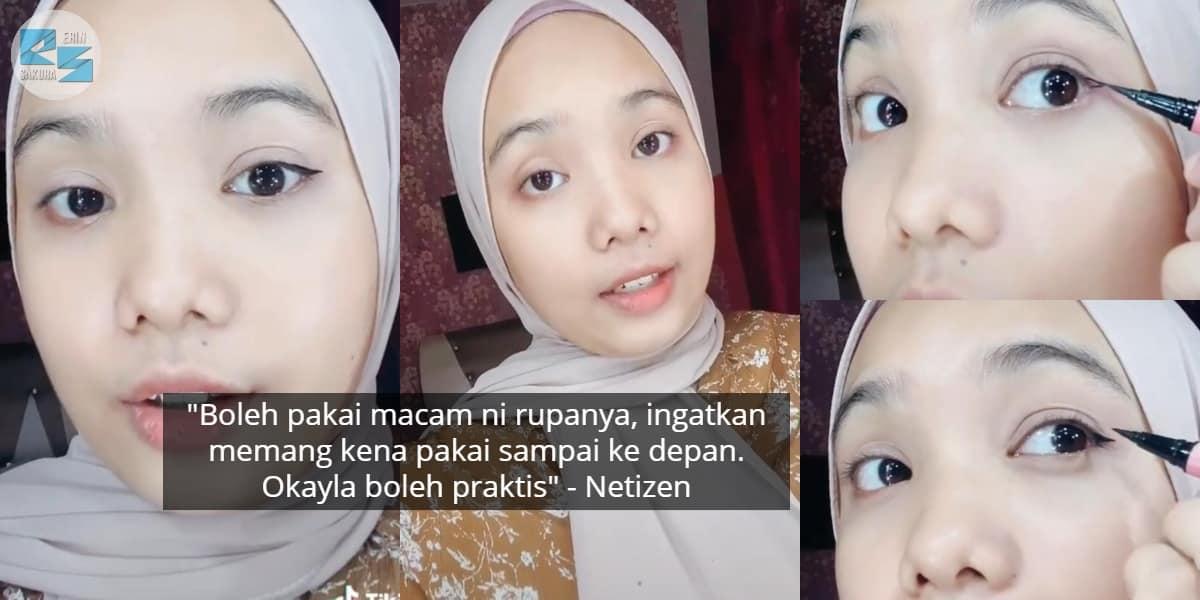 [VIDEO] Susah Makeup Sendiri, Wanita Kongsi Tips Pakai Eyeliner On Point