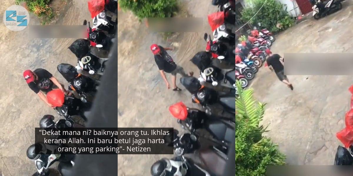 [VIDEO] Penjaga Parking Redah Hujan, Gigih Sarung Semua Helmet Guna Plastik