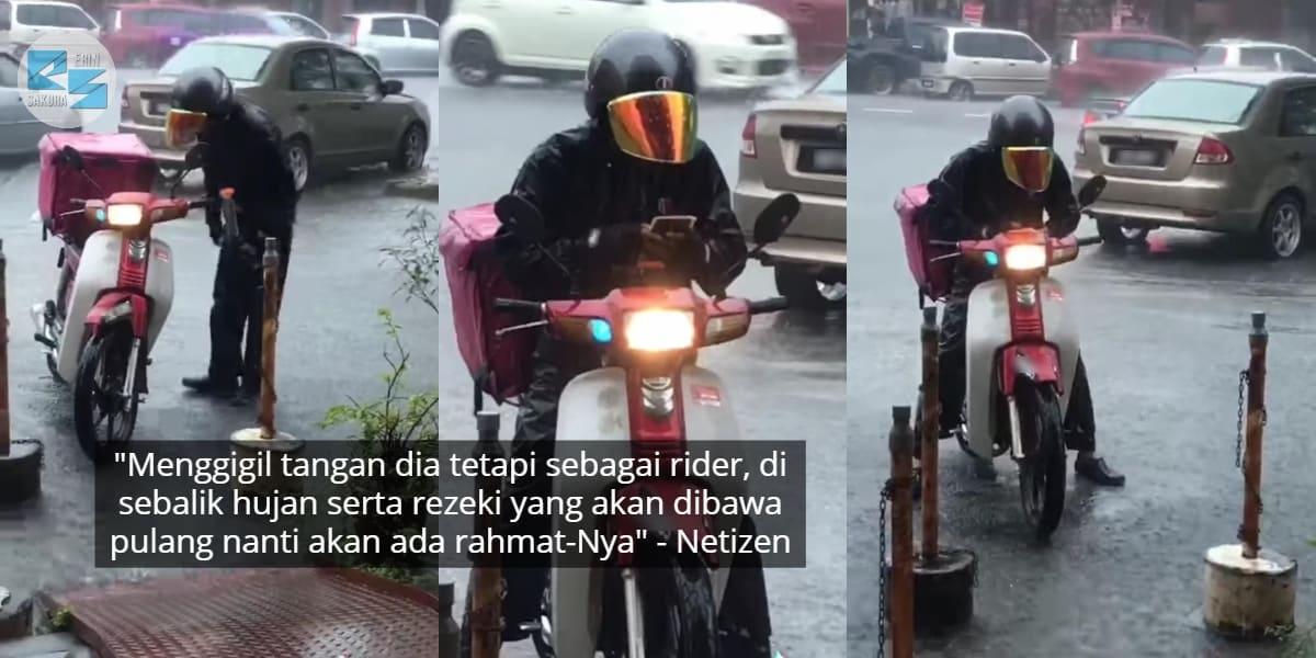"""[VIDEO] """"Terketar-Ketar Tahan Sejuk"""" – Rider Sanggup Redah Hujan Hantar Pesanan"""