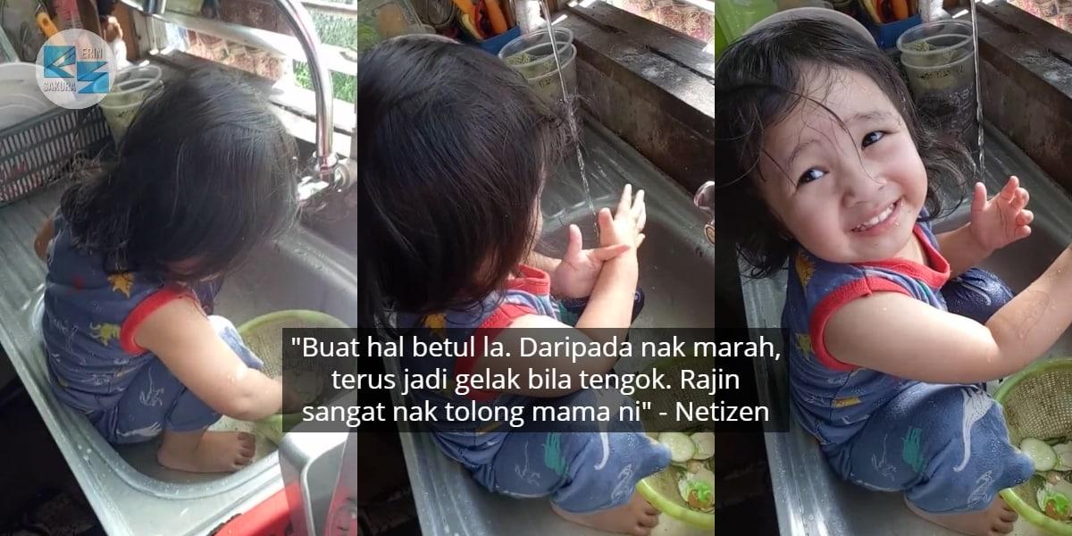 [VIDEO] Mak Baru Tinggal Kejap, Anak Panjang Akal Tahu-Tahu Duduk Dalam Sinki