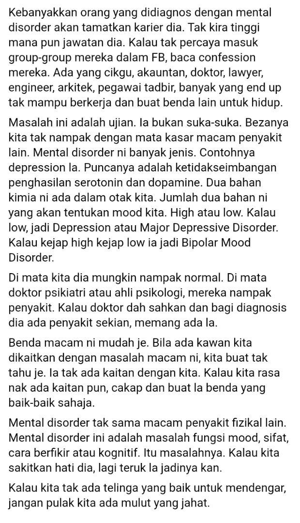 """Kawan Depression Tapi Anggap Pura-Pura Tak Sihat – """"Masalah Ini Adalah Ujian"""""""