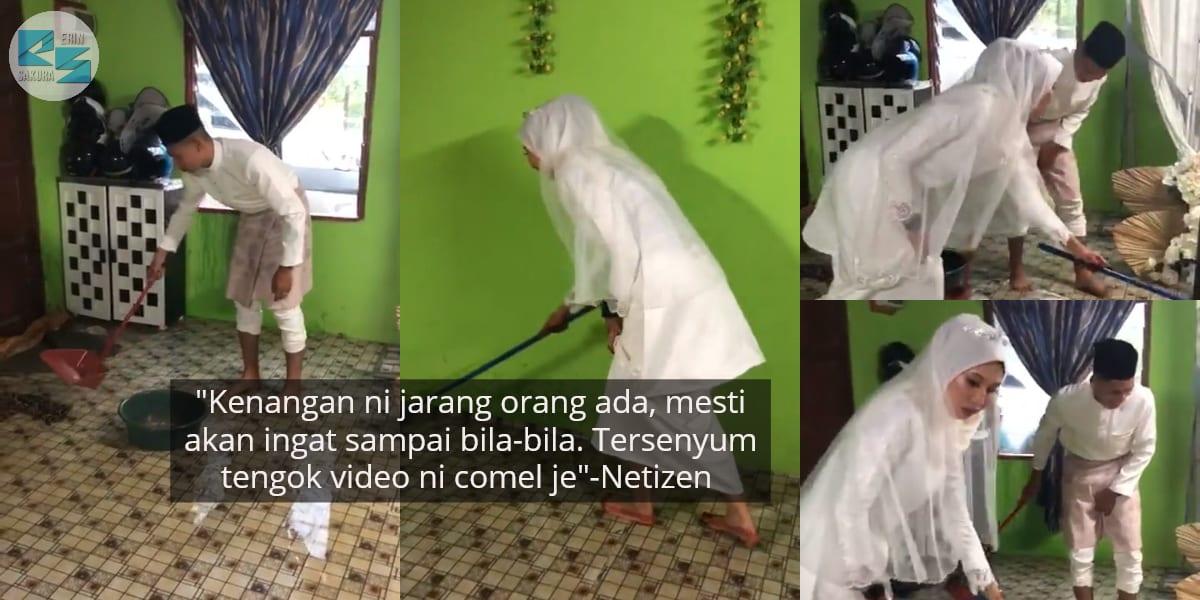 [VIDEO] Banjir Hari Nikah, Sweet Teruk Pengantin Sama-Sama Kaut Air Dalam Rumah