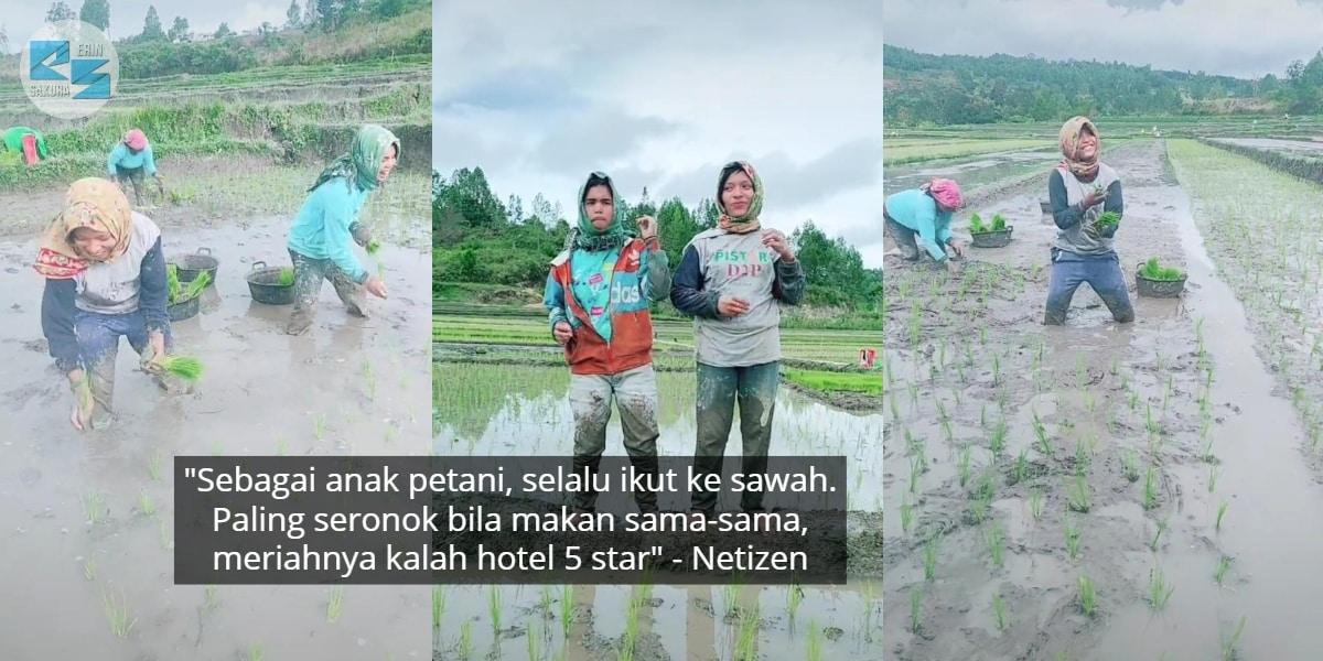 [VIDEO] Excited Joget Dalam Sawah Masa Tanam Padi, Gelagat Petani Mencuit Hati