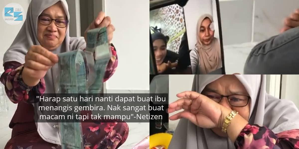 [VIDEO] Ibu Gagal Tahan Sebak, Anak Buat Surprise Kek Duit Dari Perantauan