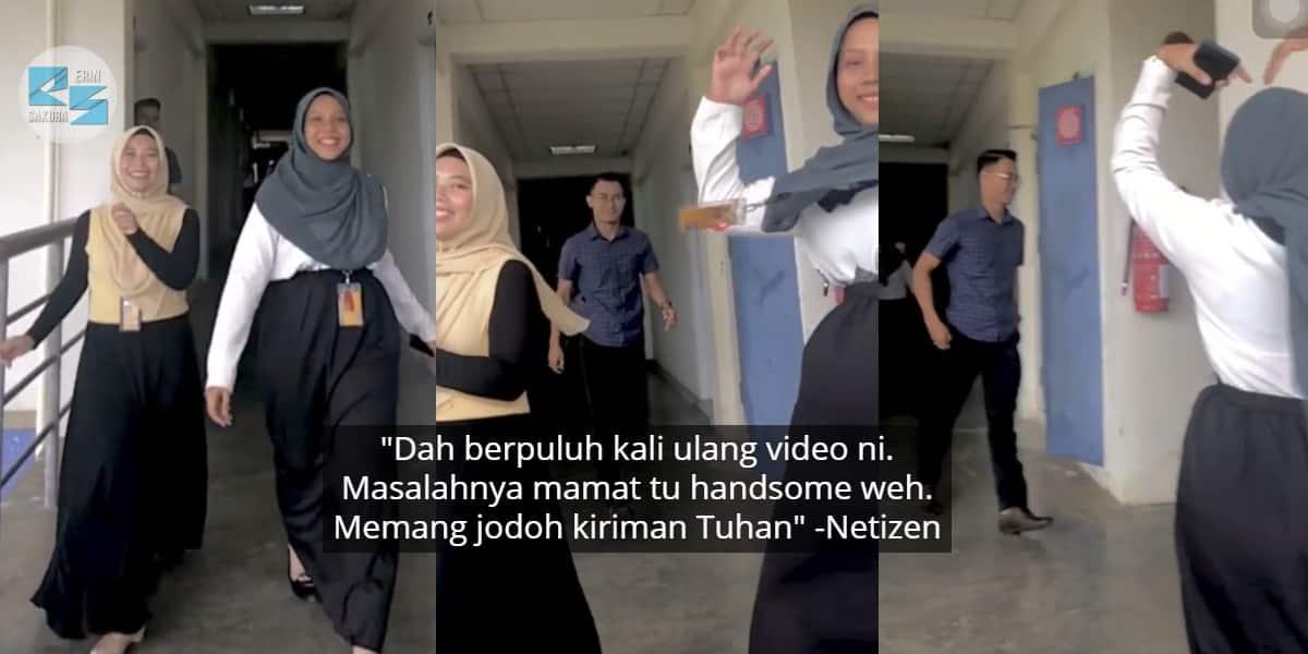 [VIDEO] Menari Slow Mo TikTok, Gadis Malu Habis Kantoi Dengan Senior Handsome