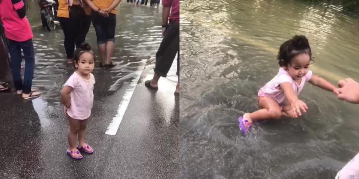 [VIDEO] Anak Teruja Main Banjir, Tapi Ayah Pula Yang Risau Bakal Dimarah Bini