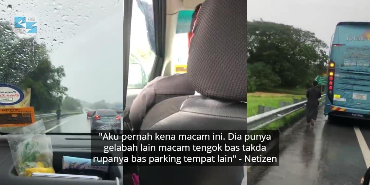 [VIDEO] Tertinggal Bas Masa Singgah R&R, Lelaki Lencun Berkejar Atas Highway