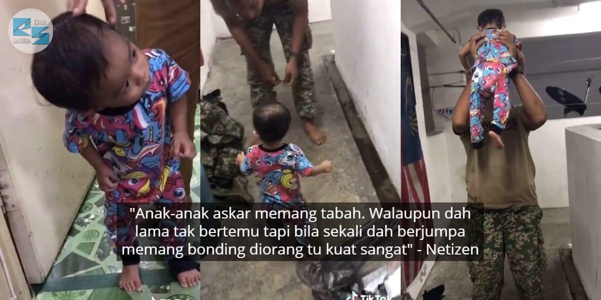 [VIDEO] 3 Bulan Tak Jumpa, Anak Malu-Malu Intai Ayah Baru Balik Bertugas