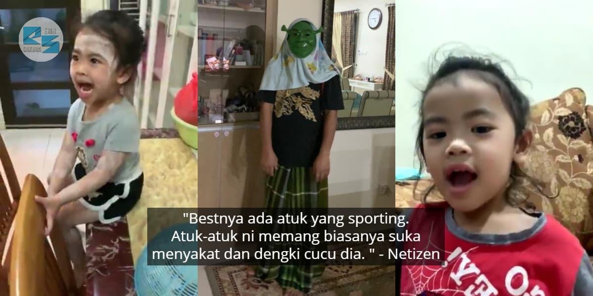 """[VIDEO] """"Atuk, Sepak Kang"""" – Viral Cucu Terkejut Disergah Atuk 'Shrek'"""