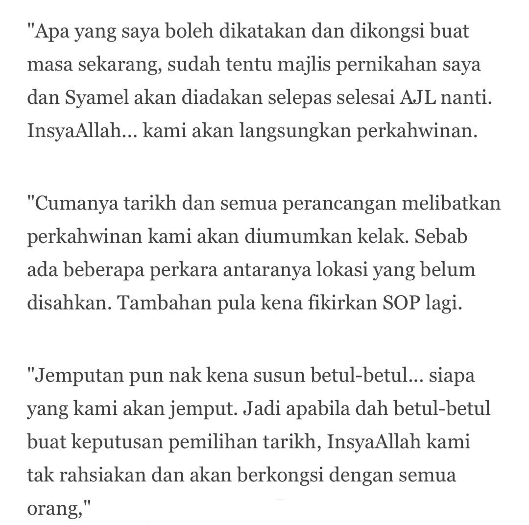 Syamel & Ernie Masih Buntu Cari Tarikh Kahwin, Sepatutnya Lepas AJL35