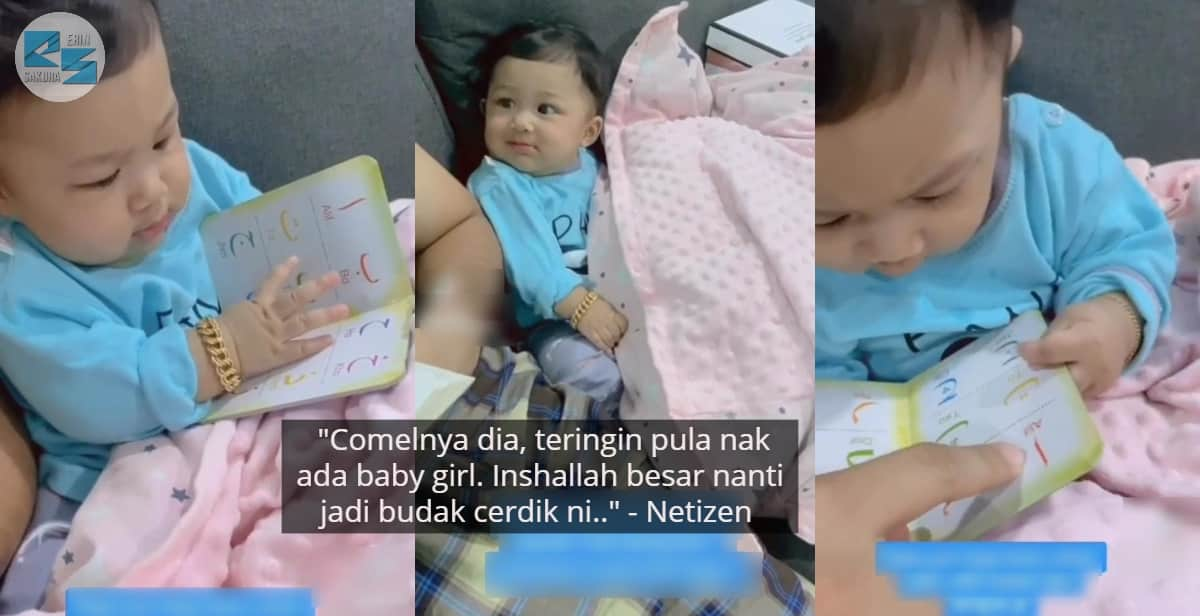 [VIDEO] Tengok Ayah Ngaji, Reaksi Baby Belek Buku 'Alif Ba Ta' Buat Ramai Kagum
