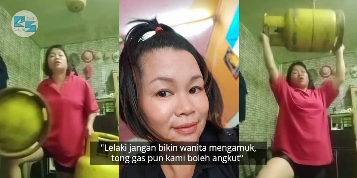 [VIDEO] Perempuan Kalau Betul Marah, Tong Gas Yang Ada Isi Pun Boleh 'Terbang'