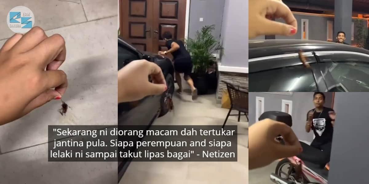 """[VIDEO] """"Astaghfirullah Sayang""""-Isteri Kejar Baling Lipas, Suami Lari Ketakutan"""