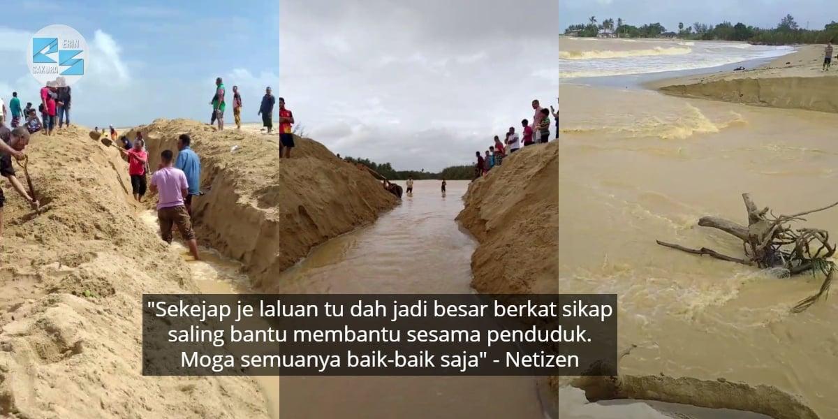 [VIDEO] Korek Tanah Buat Laluan Banjir, Penduduk Jadi Wira Selamatkan Kampung