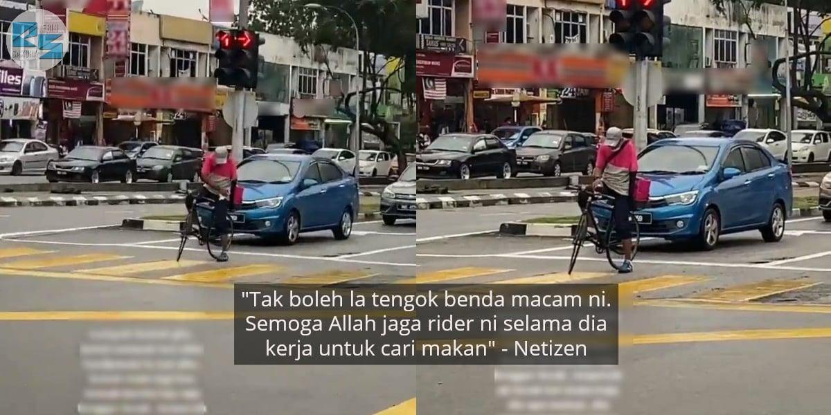 Dah Nampak Pun Masih Bawa Laju, Food Rider Basikal Pasrah Kena Tempias Lecak