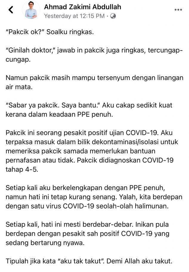 Menyesal Dulu Tak Percaya Cakap Doktor, Atuk Positif COVID-19 Rayu Patuh SOP